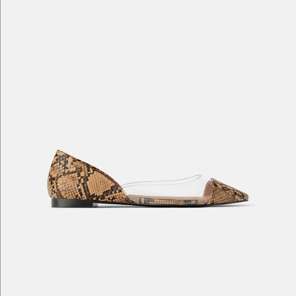 Zara Shoes | Animal Print Vinyl Flats